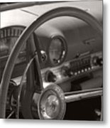 Black And White Thunderbird Steering Wheel  Metal Print