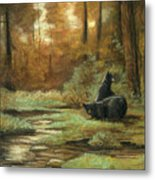 Black Bear - Autumn Metal Print