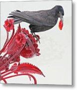 Black Bird Red Silicate Glass Flowers Gray Background 2 8282017  Metal Print