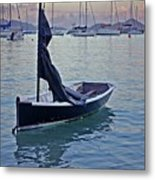 Black Boat And The Sunrise Metal Print