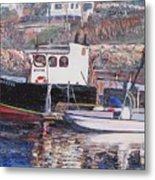 Black Boat Reflections Metal Print