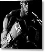 Black Boxer In Black And White 03 Metal Print