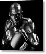 Black Boxer In Black And White 06 Metal Print