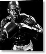 Black Boxer In Black And White 07 Metal Print by Val Black Russian Tourchin