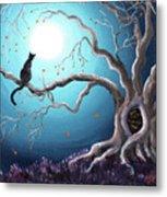 Black Cat In A Haunted Tree Metal Print