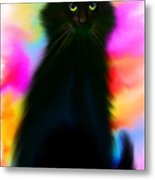 Black Cat Rainbow Sky Metal Print