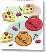 Black Cherry Pie And A Steaming Hot Cup Of Coffee Metal Print