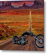Black Chopper At Monument Valley Metal Print