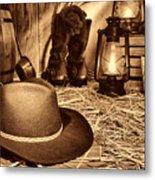 Black Cowboy Hat In An Old Barn Metal Print