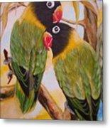 Black Faced Love Birds.  Chloe The Flying Lamb Productions  Metal Print