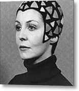Black Felt Skull Cap Model Metal Print