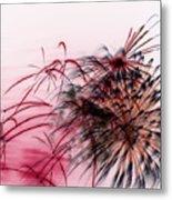 Black Flower With Red Metal Print