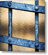 Black Forged Iron Grating With Rivets Metal Print
