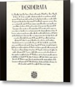Black Border Sunburst Desiderata Poem Metal Print