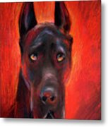 Black Great Dane Dog Painting Metal Print