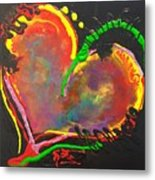 Abstract Multi Colored Heart Metal Print