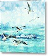 Black-headed Seagulls At Seven Seas Beach  Metal Print