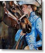 Black Horse And Cowgirl   Metal Print