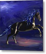 Black Horse At Night Metal Print