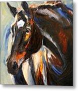 Black Horse Oil Painting Metal Print