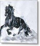 Black Horse Metal Print