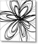 Black Ink Flower 1- Art By Linda Woods Metal Print