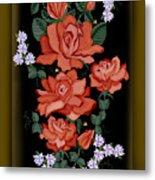 Black Lacquer Roses Metal Print
