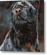 Black Leopard Metal Print