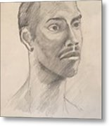 Black Man With Earing Metal Print