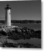 Black N White-portsmouth Harbor Lighthouse Metal Print