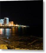 Black Night Bright Lights - Sliema Famous Waterfront Metal Print