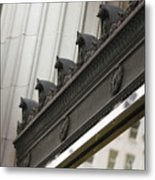 Black Ornate Trim On Marble White Building Metal Print