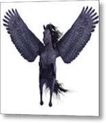 Black Pegasus On White Metal Print