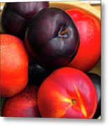 Black Plums And Nectarines In A Wooden Bowl Metal Print