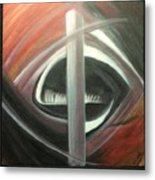 Black Red And White Abstract Metal Print