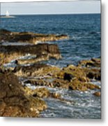 Black Rock Point And Sailboat Metal Print