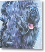 Black Russian Terrier In Snow Metal Print