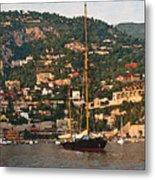 Black Sailboat At Villefranche II Metal Print