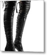 Black Sexy Thigh High Stiletto Boots Metal Print