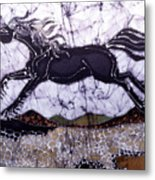 Black Stallion Gallops Over Stones Metal Print