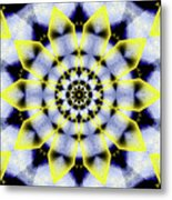 Black, White And Yellow Sunflower Metal Print