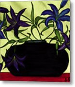Black Vase With Lilies Metal Print
