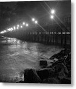 Black White Pier Metal Print