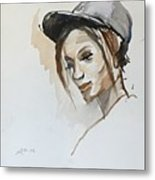 Black Woman With A Hat Metal Print
