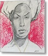 Black Woman With Red Background Metal Print