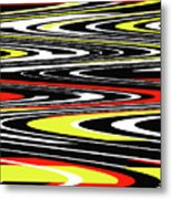 Black Yellow Red White Abstract Metal Print