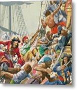 Blackbeard And His Pirates Attack Metal Print