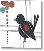 Blackbird With Circles Metal Print