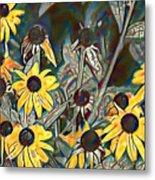 Blackeyed Susans Watercolor Metal Print