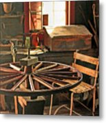 Blacksmith Shop Wheel Repair At Old World Wisconsin Metal Print